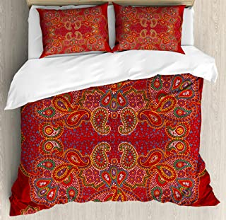 Ambesonne Mandala Duvet Cover Set, Moroccan Persian Design Oriental Rectangular Paisley Floral Print, Decorative 3 Piece Bedding Set with 2 Pillow Shams, Queen Size, Burgundy White