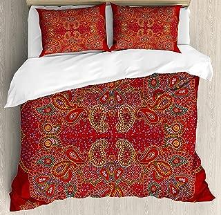 Ambesonne Mandala Duvet Cover Set, Moroccan Persian Design Oriental Rectangular Paisley Floral Print, Decorative 3 Piece Bedding Set with 2 Pillow Shams, King Size, Burgundy White
