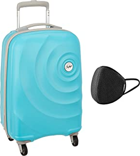 Skybags Mint 55 cms Polycarbonate Turquoise Hardsided Cabin Luggage & VIP - VSAVE 6 Layer Protective Air Mesh Large Size Mask