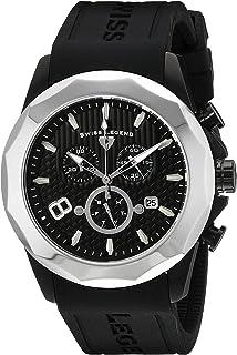 Men's 10042-BB-01-SB Monte Carlo Chronograph Black Textured Dial Black Silicone Watch