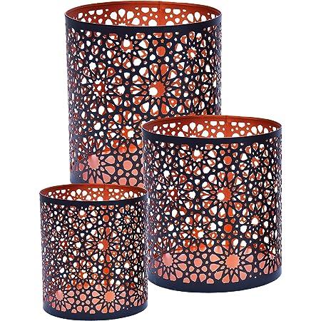 Lot de 3 Photophore marocain Adiba 14cm grand noir   Bougeoir Lanterne marocaine pour l'extérieur au jardin l'intérieur sur la table   Photophores marocains pour décoration maison orientale