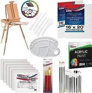 U.S. Art Supply 62 Piece Acrylic Painting Kit with Coronado French Easel, Acrylic Paint, 16
