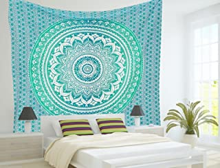 THE ART BOX Green Mandala Tapestry Twin 85x55 Wall Tapestries Hippie Wall Decor Tapestry Turquoise Tapestries Ombre Bedding Bedspread Wall Tapestry Indian