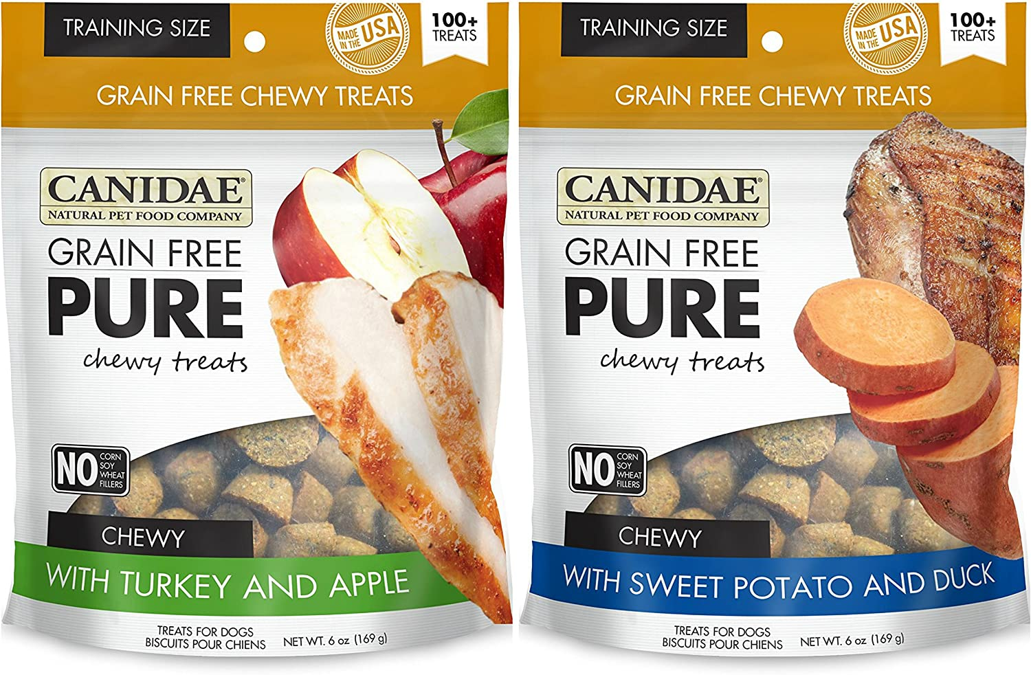Canidae Grain Free Pure Chewy Dog Training Treats 2 Flavor Variety Bundle  (1) Chewy Training Treats with Sweet Potato & Duck and (1) Chewy Training Treats with Turkey & Apple, 6 Oz Ea (2 Bags Total)