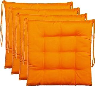 Ensemble de 4 coussins de chaise de jardin / coussin de siège de jardin en polyester - couleur orange