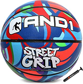 "AND1 Street Grip Premium Composite Leather Basketball & Pump Bundle- Official Size 7 (29.5"") Streetball, Made for Indoor and Outdoor Basketball Games"