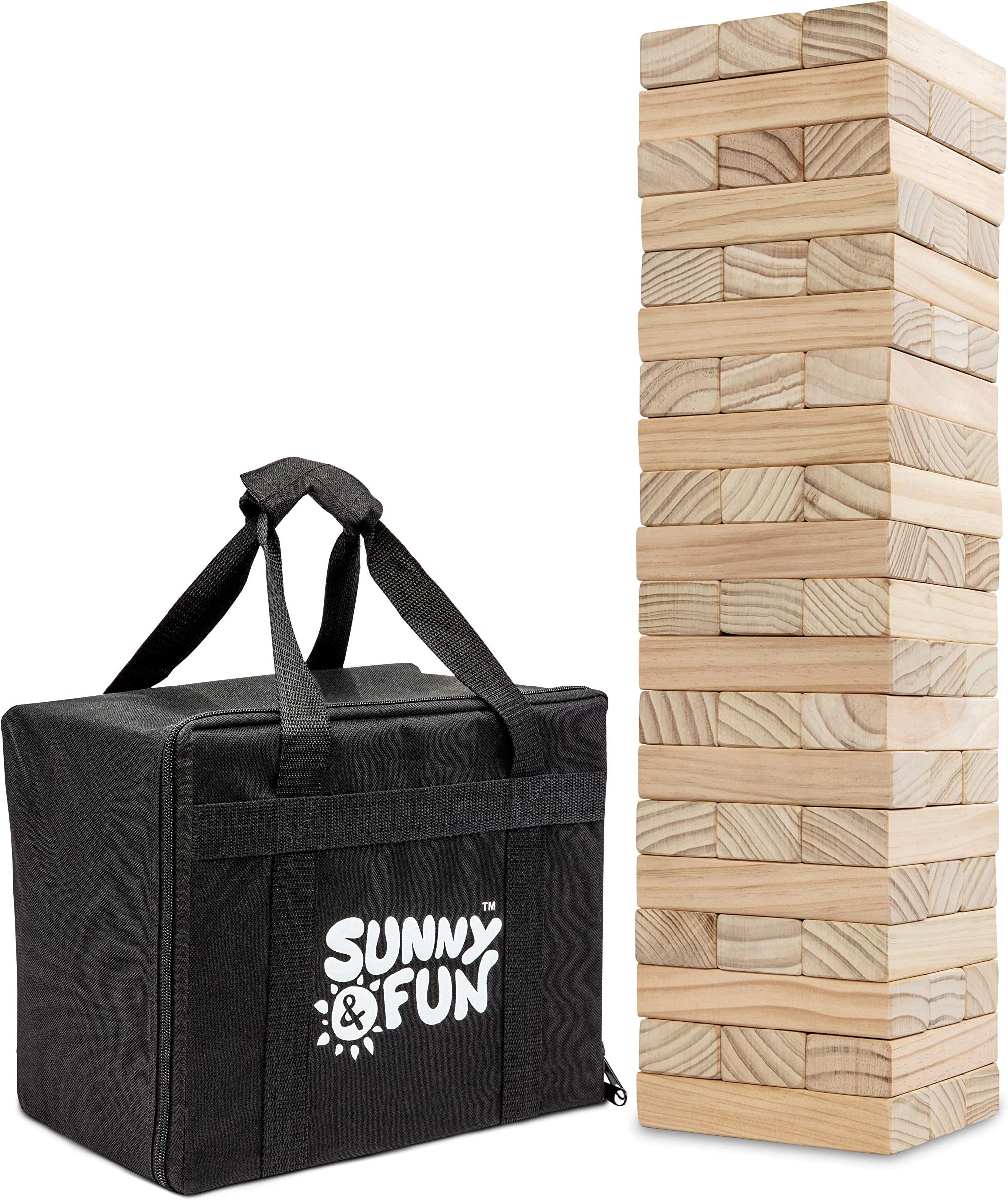 Sunny & Fun Large Tumbling Tower   60 Piece Set Oversized Wooden Toppling Blocks   Indoor & Outdoor Stacking Yard Game for Adults & Kids   Great for Party Lawn Backyard   w/ Storage Carry Bag