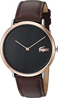Lacoste Men's Moon Stainless Steel Quartz Watch with Leather Strap, Brown, 20 (Model: 2010952)