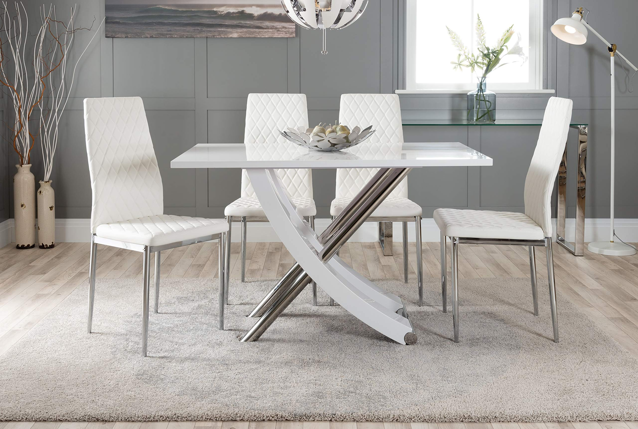 Furniturebox UK Mayfair 8 Modern White High Gloss Stainless Steel Metal  Dining Table And 8 Stylish Milan Dining Chairs Seats Set (Dining Table + 8