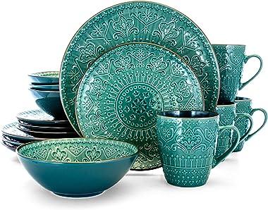 Elama Round Stoneware Embossed Dinnerware Dish Set, 16 Piece, Ocean Teal and Green
