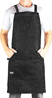 Hudson Durable Goods – Denim Professional Grade Apron for Chef, Kitchen, BBQ, and..