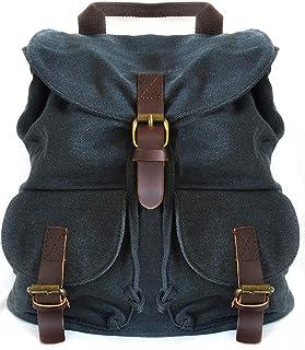 Mochila de Lona Vintage Casual Unisex Multifuncional Color Negro-Gris Sombra, Bolsa de Viaje portatil para Hombre y Mujer