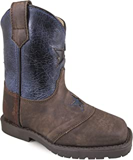 Smoky Mountain Toddlers' Autry Square Toe Two-Tone Brown Oil Distress/Turquoise Boots