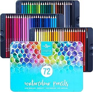 Stationery Island Creative Collection vattenfärg pennset – 72 förvässade färgpennor + 1 liten rund pensel i ett robust ten...