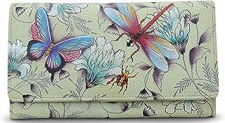 Anuschka Women's Genuine Leather Wallet | Accordion Flap | Hand Painted Original Artwork | Wondrous Wings