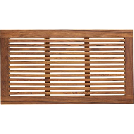 Large 31 Bare Decor Dasha Spa Bath or Door Mat in Solid Teak Wood Oiled Finish