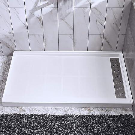 Dreamline Slimline 30 In D X 60 In W X 2 3 4 In H Right Drain Single Threshold Shower Base In White Dlt 1130602