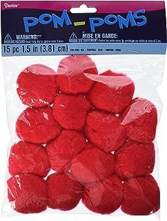 Darice Pom-Poms, 1.5-Inch, Red, 15-Pack