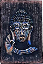 Iron handicraft buddha wiser with mdf ceramic pad wall hanging for home décor, 23 inch x 14.5 inch (ih115)