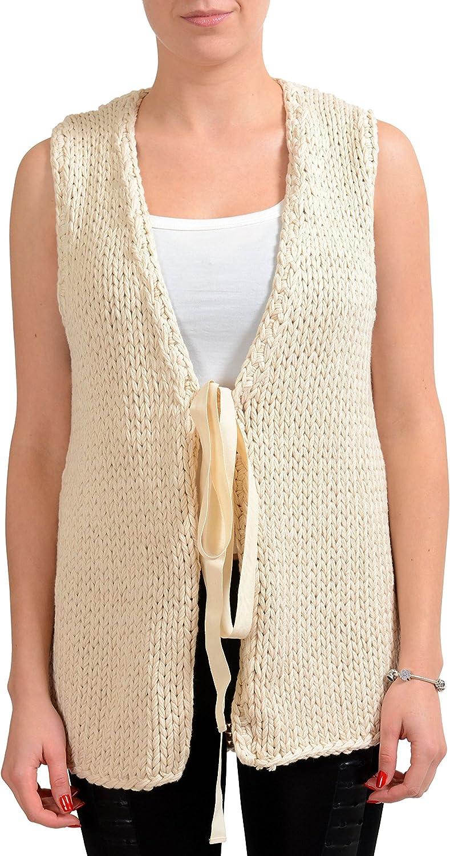 MAISON MARGIELA MM6 Beige Women's Knitted Sweater Vest US M IT 42