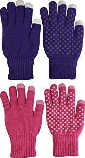 N'Ice Caps Kids Magic Stretch Warm Plush Lined Knit Touchscreen Gloves - 2 Pair Pack