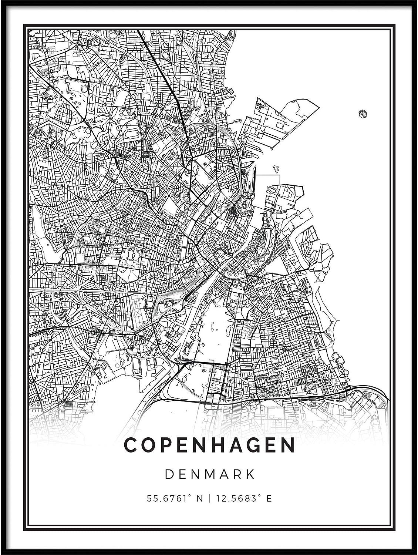 Squareious Copenhagen map Poster Print   Modern Black and White Wall Art   Scandinavian Home Decor   Denmark City Prints Artwork   Fine Art Posters 16x20