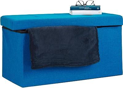Relaxdays 10019048_45 Pouf de rangement pliant coffre repose-pieds Hxlxp: 38 x 76 x 38 cm, bleu, Lin, 76 x 38 x 38 cm