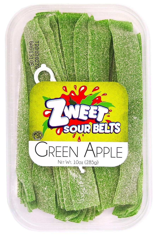 Zweet Sour Belts, Green Apple, 10 Ounce (Pack of 6)