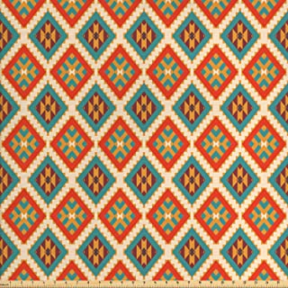 Ambesonne Mexican Fabric by The Yard, Colorful Pattern Retro Colors Checkered Pattern Geometric Indigenous Details, Decorative Fabric for Upholstery and Home Accents, 1 Yard, Seafoam Orange