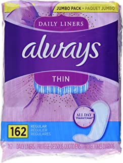 Always Thin Daily Liners, Unscented, Wrapped, Regular, 324 Count (Pack of 2) - Packaging May Vary