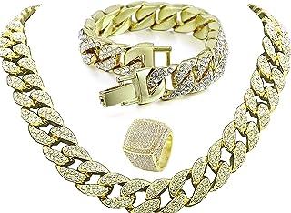 قلادة تشارلز رايموند هيب-هوب من سلسلة مربوطة ببريق براق ومجوهرات ووصلة كوبية للرجال - CRN2020