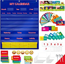 """Calendar and Weather Pocket Chart with 108 Illustrated Activity Cards, 40 Dry Erasable Flash Cards and 3 Hooks (28"""" X 35.5"""")"""