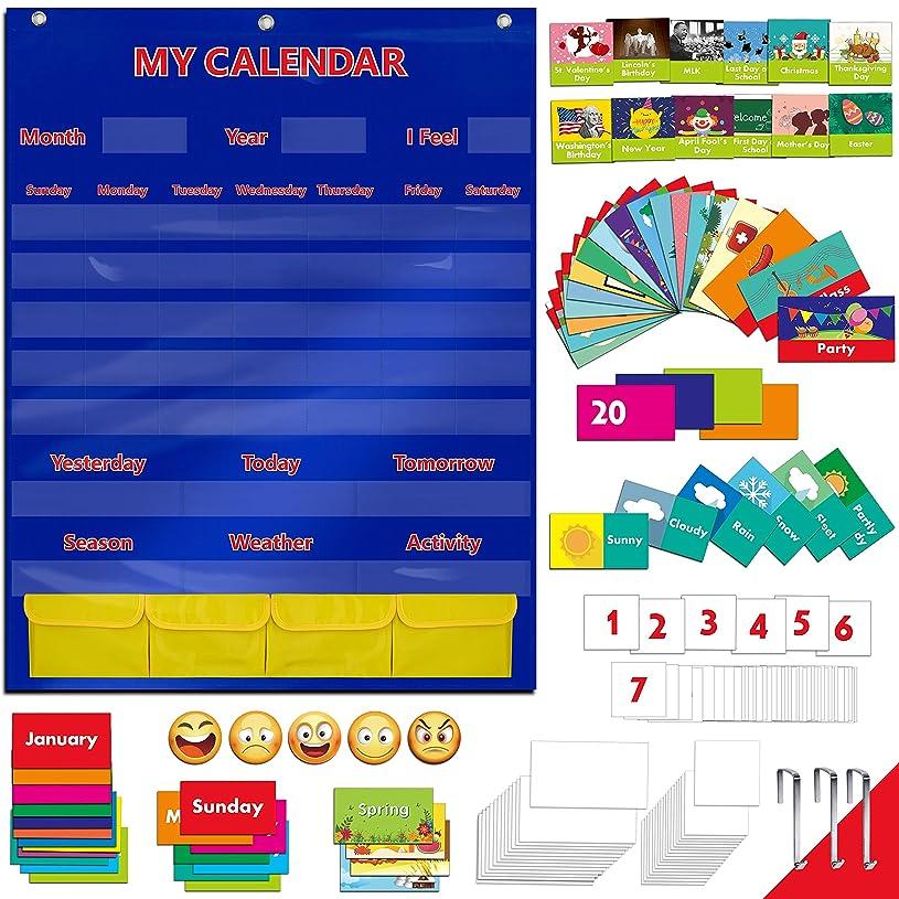 知覚的断線スキムカレンダーと天候ポケットチャート 108枚のイラスト付きアクティビティカード、40枚のドライ消去可能フラッシュカードと3つのフック(28インチ×35.5インチ)