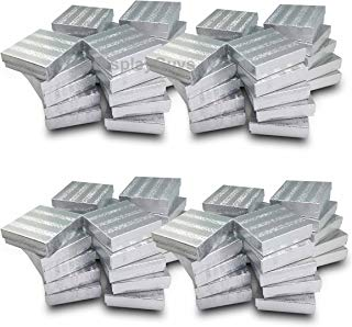 The Display Guys~ Pack of 100 Cotton Filled Cardboard Paper SILVER Jewelry Box Gift Case - Silver Foil (3 1/2x3 1/2x1 inches #33)