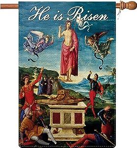 COSKAKA He is Risen Garden Flag Easter Jesus Christ Christianity Religious Garden Flag Decorative House Yard Double Sided Flag 28 x 40