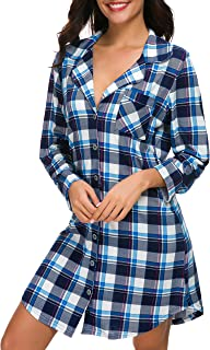 N NORA TWIPS Women Long Sleeve Pajama Top Buttom Down Sleep Shirt Dress (XS-XL)