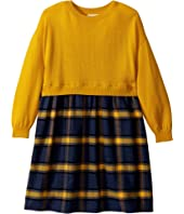 Oscar de la Renta Childrenswear - Plaid Flannel Dress with Knit (Toddler/Little Kids/Big Kids)