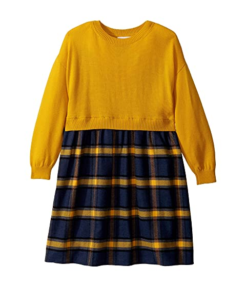 Oscar de la Renta Childrenswear Plaid Flannel Dress with Knit (Toddler/Little Kids/Big Kids)