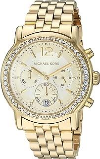 Michael Kors Women's Baisley Stainless Steel Watch, quartz chronograph movement with crystal bezel