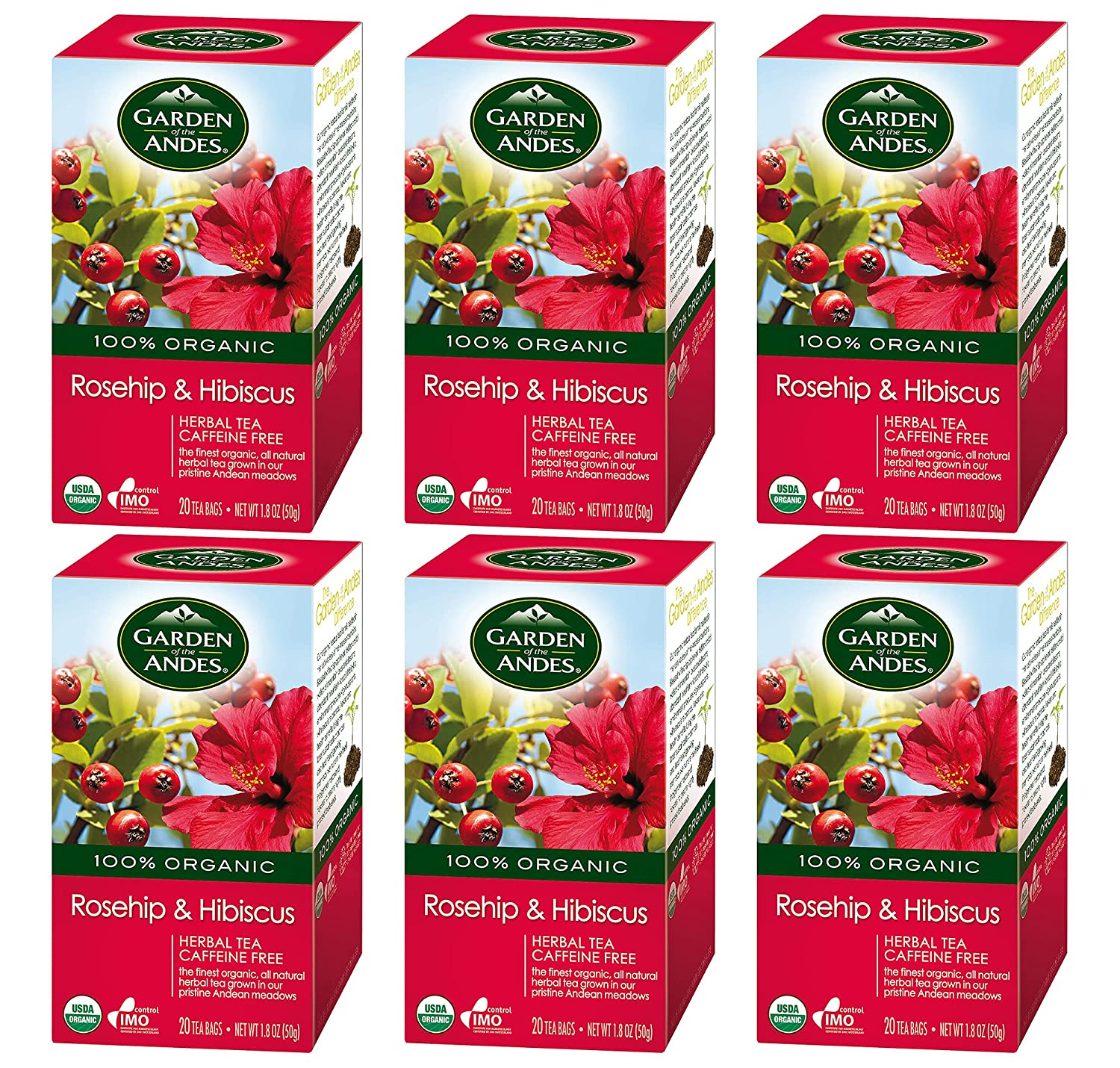 Garden of the Andes Herbal Organic Decaf Rosehip and Hibiscus Hot Tea Bags, 0.9 oz, 20 Count, (Pack of 6)