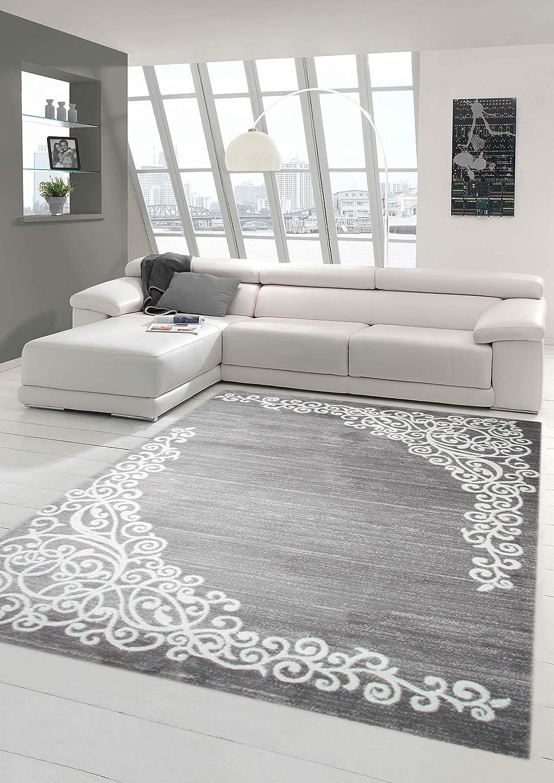 Moderner Teppich Designer Teppich Orientteppich mit Glitzergarn Wohnzimmer Teppich mit Floral Muster Meliert in Grau Creme Größe 160x220 cm B01AWTX3QG