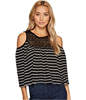 ROMEO & JULIET COUTURE - Cold Shoulder Stripe Top with Lace Trim Neck and Keyhole Back