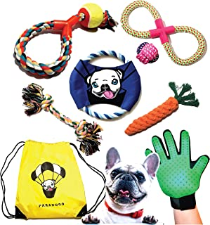Rope Dog Toys Set - Puppy Chew Toys - Grooming Pet Glove Gift - Large Bag for Dog Toys - Dog Frisbee - Cotton Rope Dog Chew Toys - Dental Floss - Puppy to Medium Breed - Puppy Toys - Outdoor Dog Toys