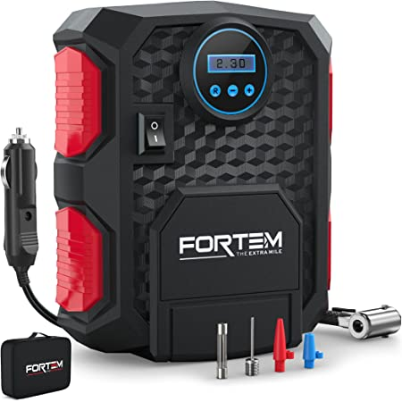 FORTEM Tire Inflator Portable Air Compressor, Bike Tire Pump, 12V Electric Air Pump for Car Tires and Bicycles w/LED Light, Digital Tire Pressure Gauge w/Auto Pump/Shut Off, Carrying Case (Red)