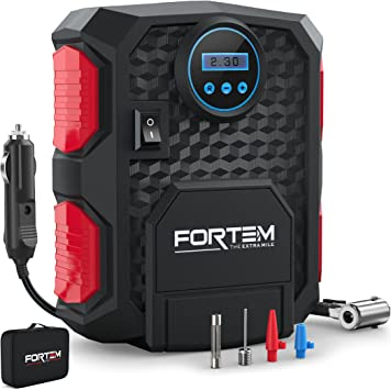 FORTEM Tire Inflator Portable Air Compressor, Bike Tire Pump, 12V Electric Air Pump for Car Tires and Bicycles w/LED Light, Digital Tire Pressure Gauge w/Auto Pump/Shut Off, Carrying Case (Red): image