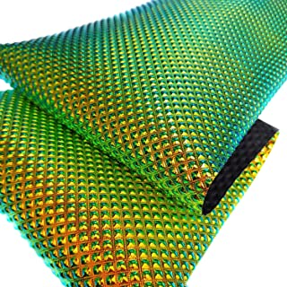 """ZAIONE Holographic Metallic Iridescent Faux Leather Fabric 8"""" x 53"""" (21cm x 135cm) Roll Laser Crystal Diamond Synthetic Leather for Shoes Bag Bow Earrings Making DIY Craft (Diamond,Green&Gold)"""
