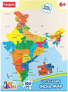 Funskool Play & Learn-India Map,Educational,104 pieces,Puzzle,For 6 year Old Kids and Above,Toy