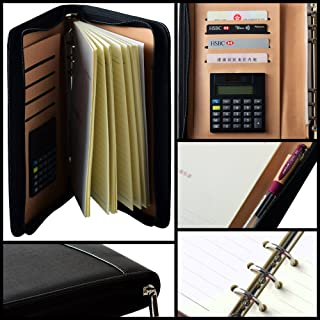 Mcbazel PU Leather A5 6 Ring Bound Business Notepad Travel Journal Diary with Built-in Solar Calculator 4 Card Slot Pen Holder Card Slot Refillable Zipper Folder Organizer Black
