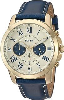 ساعة اليد جرانت بمينا ذهبية وسوار من الستانلس ستيل للرجال من فوسيل - FS5271