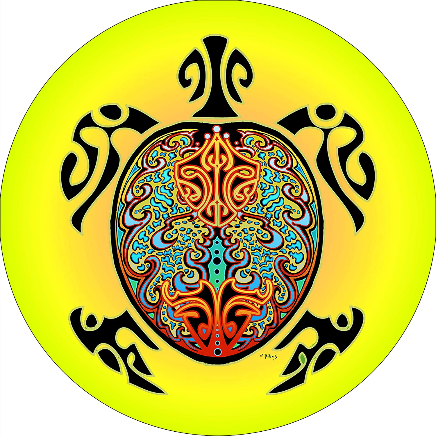 High quality new TIRE COVER CENTRAL Yellow Tribal Turtle Select Spare Tire Cover Latest item